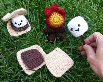 Crochet S'mores Playset, Pretend Camping Toy Food, Girl Scout Camp Playset, Made to Order