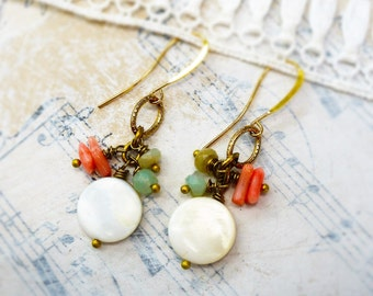 On The Beach, Mother of Pearl, Peruvian Opals, Pink Coral,Organic Natural Ocean Treasure Earrings by Hollywood Hillbilly