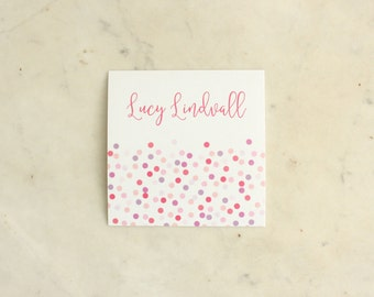 personalized girl / sisters / twin girl / children's gift stickers - confetti (pinks and purples)