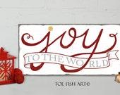 JOY to the World Chrismas sign Typography Word Art Sign Print on Wood