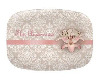 Personalized serving platter, Personalized Platter, serving dish, rose quartz pink, damask platter, hostess gift, wedding gift, melamine