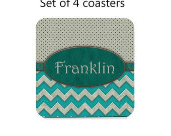 Personalized coaster set, drink coasters, set of 4, turquoise coasters, chevron coasters, housewarming gift, cork back coasters