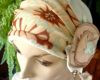 womens hat chemo hat daisy print  soft hat with detachable flower
