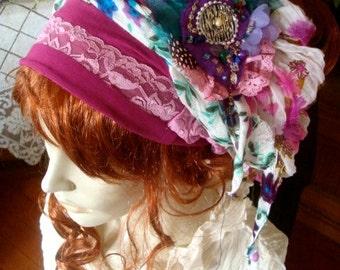 Headwrap Womens chemo hat  chemo headscarf chemo hat bohemian headwrap dreadlocks adult headband