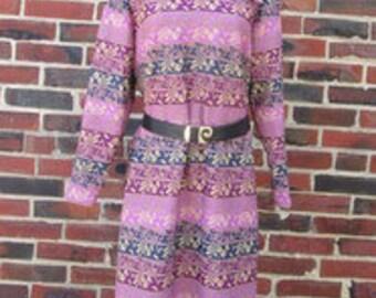 Purple Midi Dress.  Purple Graphic Dress.  Shades of Purple Secretary Dress.