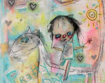 Kids Room Art Print. childlike art, horse, outsider art, artbrut, Colorful wall art, whimsical art. bright home decor, outsider, playful art