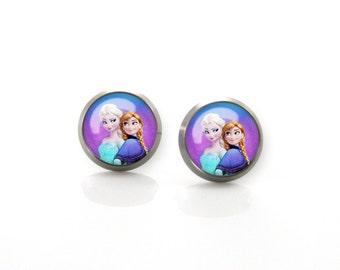 Frozen Disney Frozen Elsa Anna Titanium Post Earrings | Hypoallergenic Sensitive Stud | Titanium Baby Cartoon Girls stud earrings #7