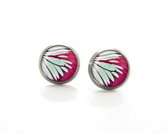 Green Deep Red Butterfly wing Titanium Post Earrings | Hypoallergenic Earring Stud | Titanium Earring Stud | Nickel Free| Sensitive jewelry