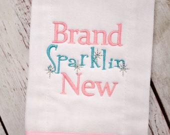 Girls Burp Cloth - Girl Burp Cloth -  Brand Sparklin New - Baby Shower Gift - Burp Cloth - Embroidered Burp Cloth