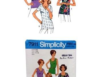 Vintage Simplicity 7911, Misses Top Sewing Pattern, Misses size 18, Misses size 20, Sleeveless Top Sewing Pattern, Misses Short Sleeve Tops
