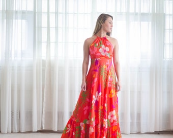 Vintage 1970s Maxi Dress - 70s Floral Festival Dress - Maui Maui Dress