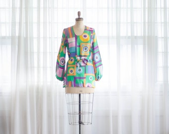 60s Silk Tunic - Vintage 1960s Geometric Print Top - Geometry Silk Tunic