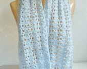Handmade Light Blue Scarf, Shell Stitch, Super Soft Long Crochet Scarf for Women, Pale Baby Blue Knit Scarf