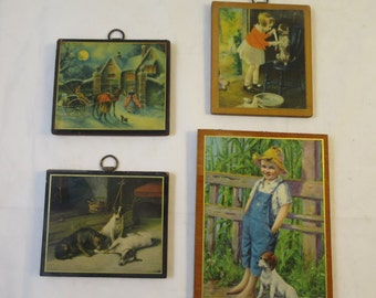 Vintage 4 Mini Pictures Decoupaged Prints on Wood Made in Britain Miniature Prints Wall Grouping Vintage Prints Children Pets  4 -5 inches