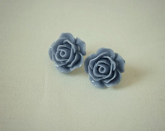 Handmade Blue Post Earrings Blue Flower Earrings Blue Rose Posts Slate Blue Rose Earrings Blue Earrings Slate Blue Earrings
