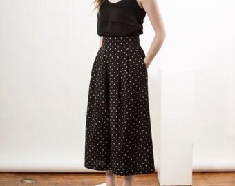 Black Polkadot Skorts / Long Pleated Skirt / Midi Spring Skirt