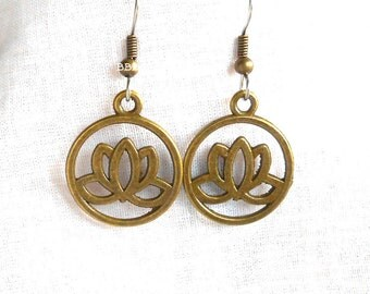 Lotus Earrings Peace Charm Bronzed  Blooming Flower Surgical Steel French Hooks