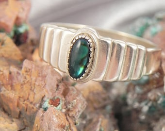 Abalone Sterling Silver Unisex Sterling Silver Ring