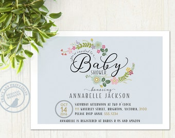 Baby Shower Invitation, Baby Blue,  Floral Baby Shower invite, Pastel Baby Shower Invitation, Printable Invitation, Digital,  1512
