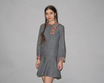 Vintage 1960s Gray Wool Rainbow Embroidered Folk Boho Festival Dress -  Vintage 60s Boho Dresses - Boho Embroidered Dresses  - WD0710