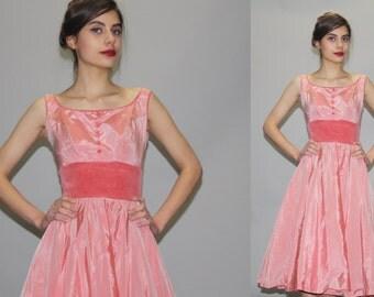 1950s Pink Designer Emma Domb Cupcake Bombshell Pinup Prom Wedding Dress  - Vintage 50s Dress - 50s Designer Dress - Prom Dress  - WD0806