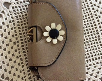 Vintage 1960s Wallet Clutch Vinyl MOD Flower Decoration Many Compartments