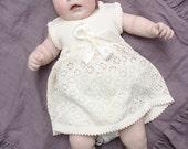 Baptism dress Knit Baby girl Off white Dress Flower girls dress First birthdays dress Coming home dress Baby girl clothes Sleeveless