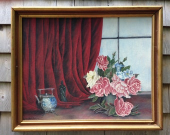 VINTAGE OIL PAINTING - Shabby Chic Roses against a velver curtain - 1900's midcentury FlOwer Oil on Board-sgned Gertrude Petkins