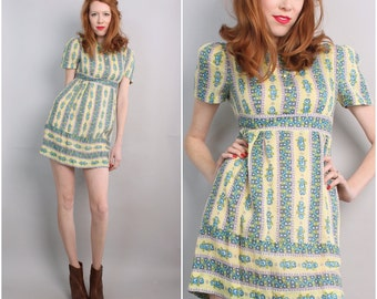 1960s Mod Mini Dress / 60's Micro Mini Peasant Dress / Small