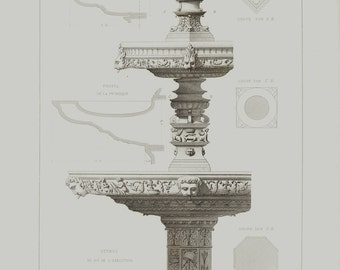 1874 Antique print from, Victorian ARCHITECTURE lithograph, Fountain in Paris