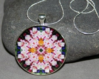 Mandala Pendant Necklace Peruvian Lily Boho Chic Sacred Geometry Hippie Kaleidoscope Unique Gift For Her Bohemian New Age Mod Tickled Pink
