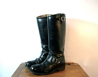 Vintage 90's black engineer boots, tall knee high boots, black riding boots, Chippewa men's size 11