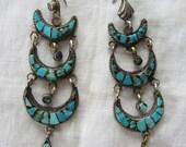 Vintage Tibetan Triple Crescent Moon Turquoise Silver Earrings