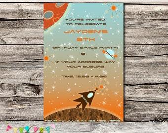 Rocket Ship / Space Birthday Party Invitation - Printable - Digital File - Personalised