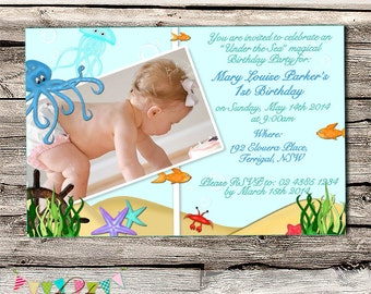 Under the Sea Birthday Party Invitation - Printable - Digital File - CUSTOMISED