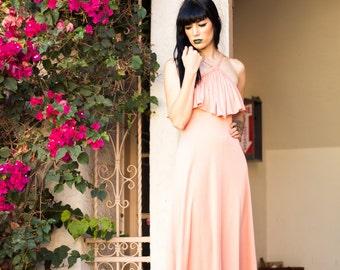 70s Blush Goddess Maxi Dress