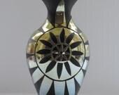 Handblown Black andGold Sandblasted Glass Mandala Vase