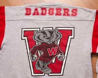 Wisconsin Badgers Sweatshirt, Oversized 2-Sided Mascot Shirt, Vintage 90s
