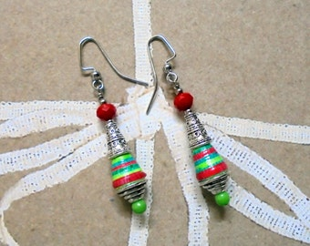 Red, Green and Lime Christmas Tree Earrings (2400)