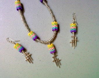 Rainbow and Cross Necklace and Earrings (1208)