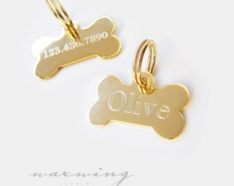 Small Gold Bone Pet Tag Custom Engraved Gold Plated or Nickel Silver Chrome Custom Personalized for Your Pet Dog or Cat Pet ID