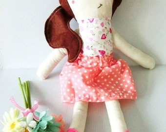 Amanda Doll Handmade Traditional Plush Doll Girly Pink Polka Dress