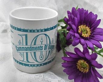 Bingo Coffee Mug, the Ten Commandments of Bingo, Humorous Novelty Ceramic Mug