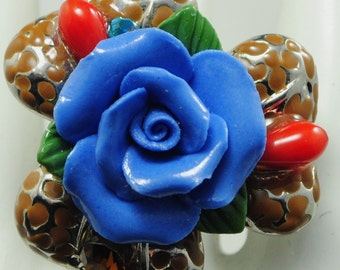 Blue Rose Ring/Boho/Statement Ring/Gift For Her/Mother's Day/Spring/Summer Jewelry/Under 20 USD/Adjustable