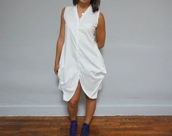 90s white cotton avant garde dress sleeveless pouch pockets small s 1990s chic professional summer classy beach button up womens top tunic M