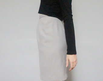 STOREWIDE CLEAROUT SALE 90s minimalist gray pencil skirt 1990s vintage light grey muted professional office work midi high waist skirt women