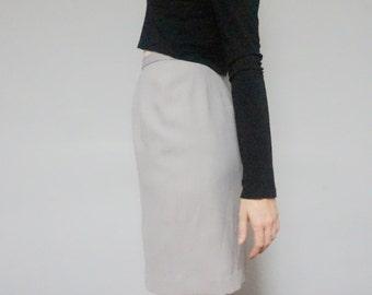 90s minimalist gray pencil skirt 1990s vintage light grey muted professional office work midi high waist skirt women small s medium m