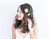 summer rose bud hair pin set of two in creamy green // wedding bridal bridesmaid hair accessory, flower bobby pins