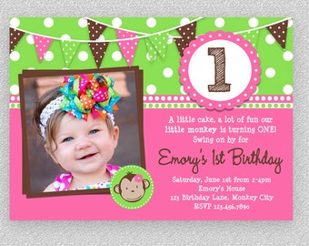 Girls Monkey Birthday Invitation,  Girls Monkey Invitation ,  Printable Monkey Invitation, 1st Monkey Birthday Invitation