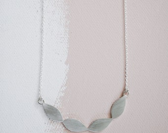 Foliage necklace in sterling silver. Leaf wreath, Nature, Garden, Botanical jewellery.